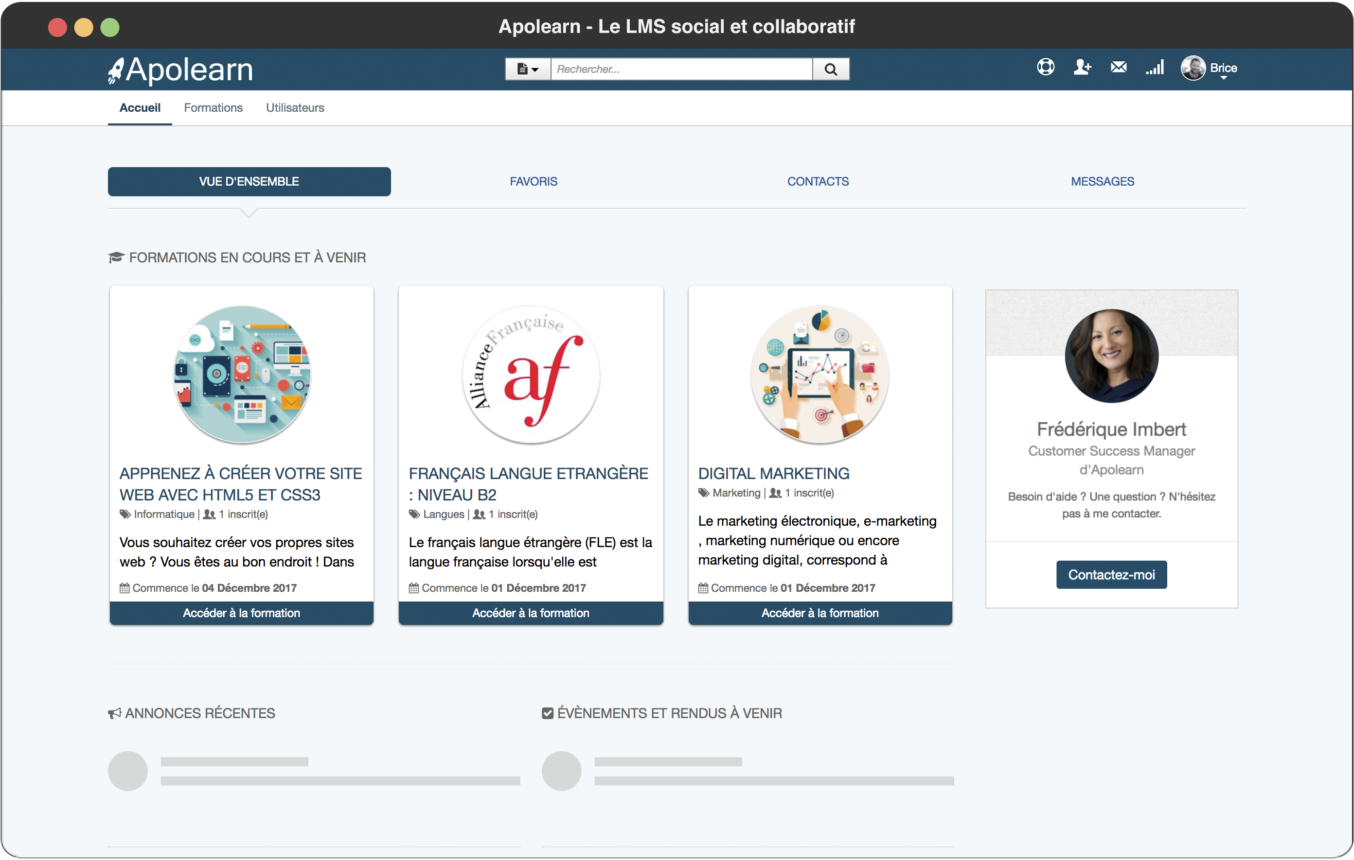 Apolearn page d'accueil