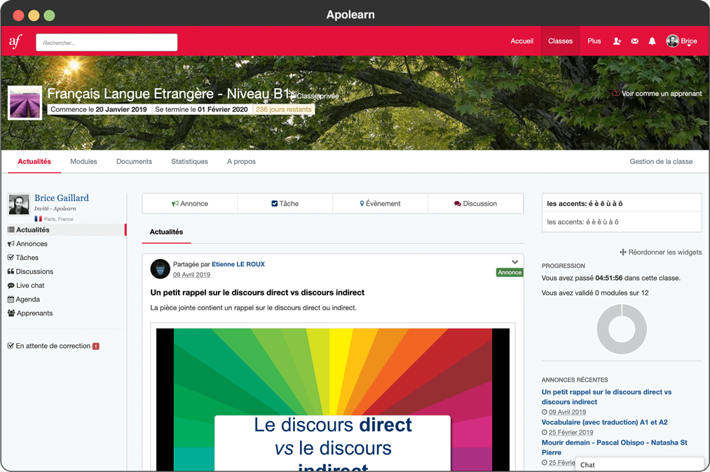Apolearn page FLE alliance française